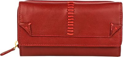 Hidesign Stitch Trifold Leather Wallet Red - Hidesign Women's Wallets