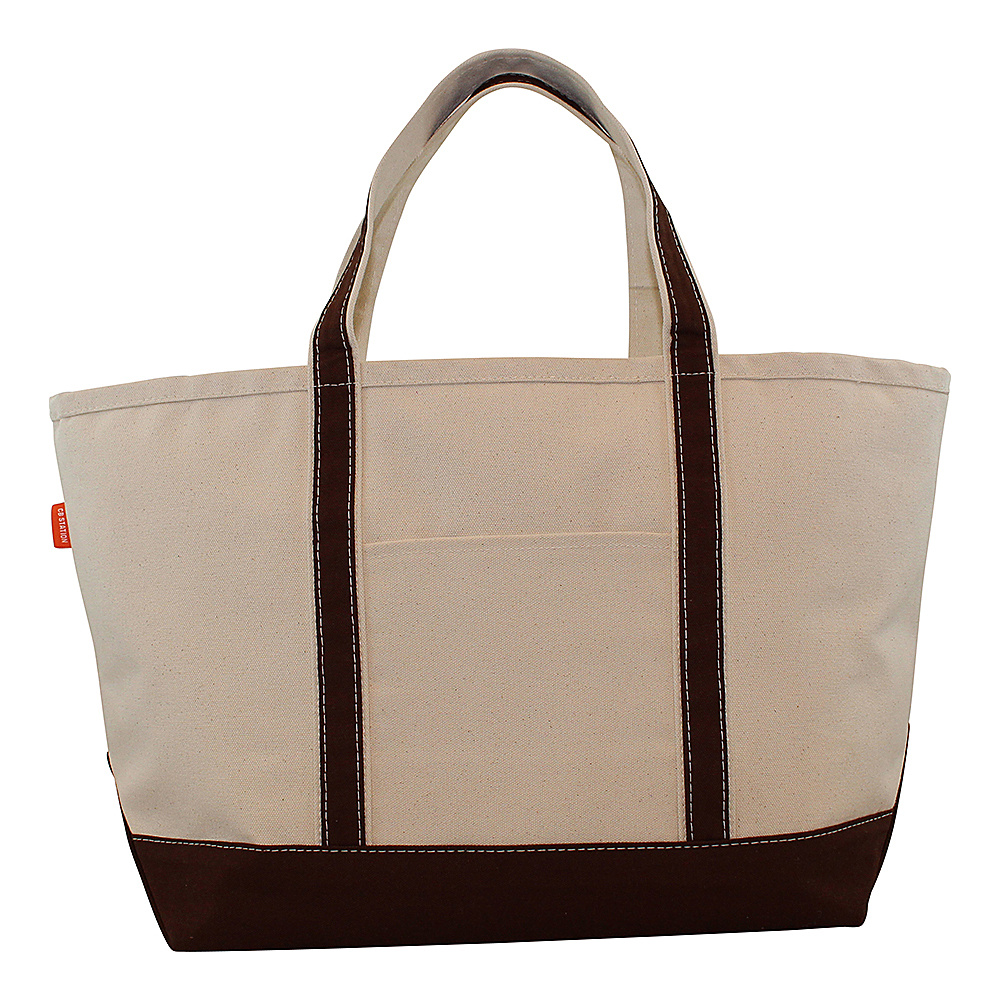 CB Station Boat Tote Large Brown CB Station Fabric Handbags