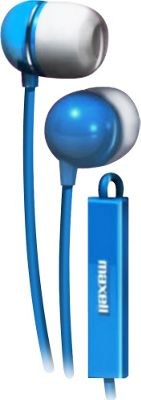 Maxell Earbud with In-Line Microphone and Remote for Mobile Phones Blue - Maxell Headphones & Speakers