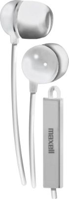Maxell Earbud with In-Line Microphone and Remote for Mobile Phones White - Maxell Headphones & Speakers