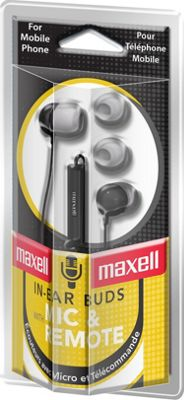 Maxell Earbud with In-Line Microphone and Remote for Mobile Phones Black - Maxell Headphones & Speakers