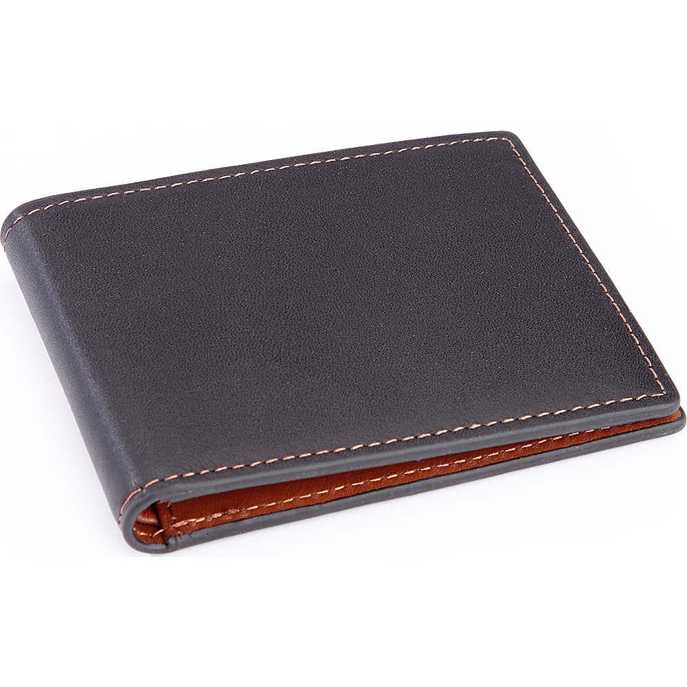 Royce Leather 100 Step Wallet, Mens Slim Bifold Wallet with RFID Blocking Technology Black with Tan interior - Royce Leather Mens Wallets - Work Bags & Briefcases, Men's Wallets