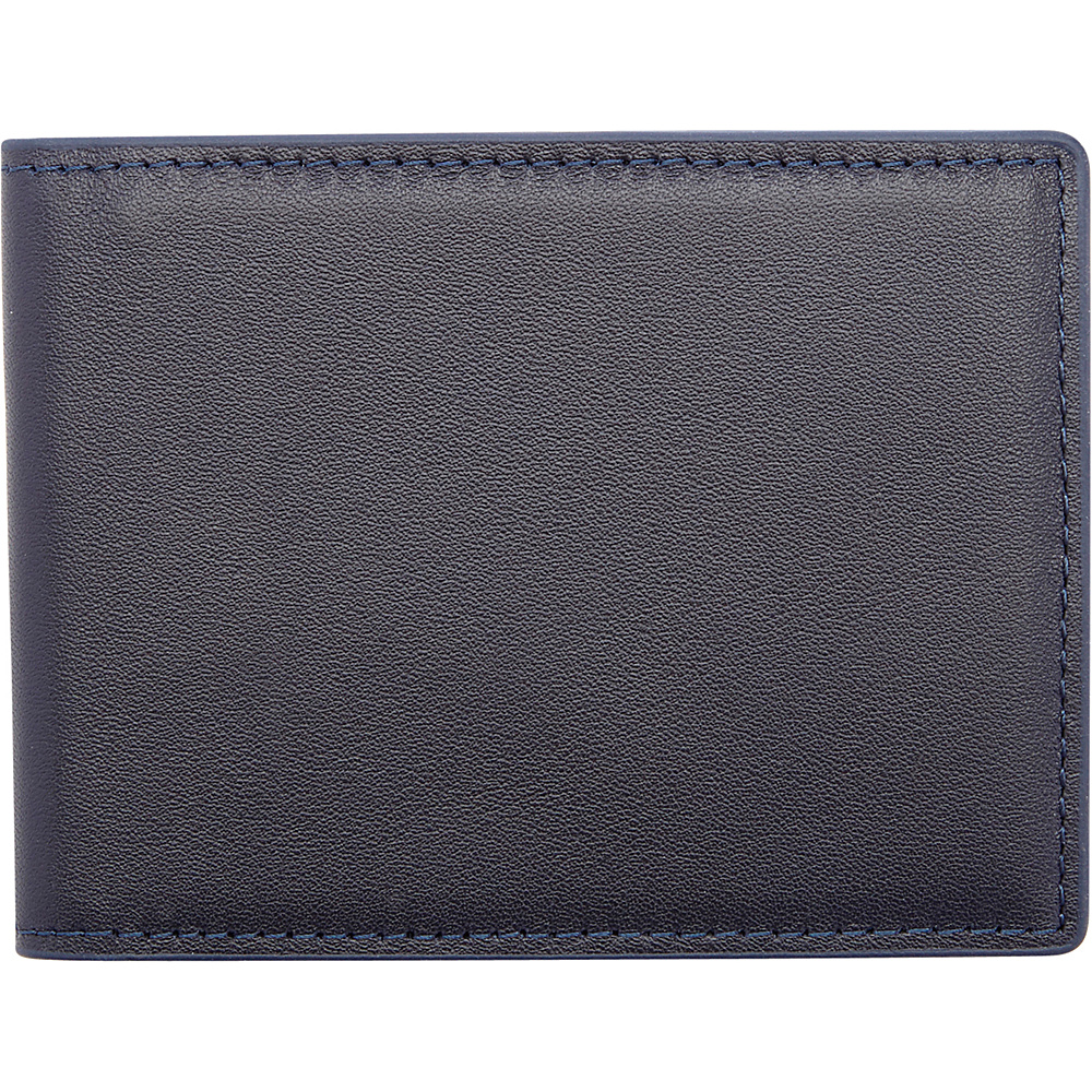 Royce Leather 100 Step Wallet, Mens Slim Bifold Wallet with RFID Blocking Technology Black/Blue - Royce Leather Mens Wallets - Work Bags & Briefcases, Men's Wallets