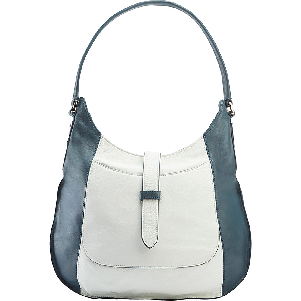 TUSK LTD Large Moto Slim Hobo Denim White TUSK LTD Leather Handbags