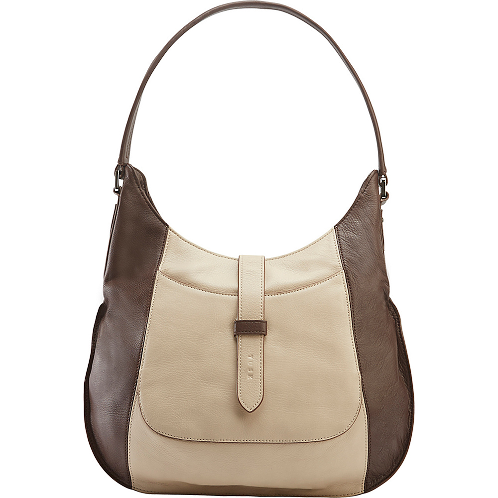 TUSK LTD Large Moto Slim Hobo Espresso Sand TUSK LTD Leather Handbags