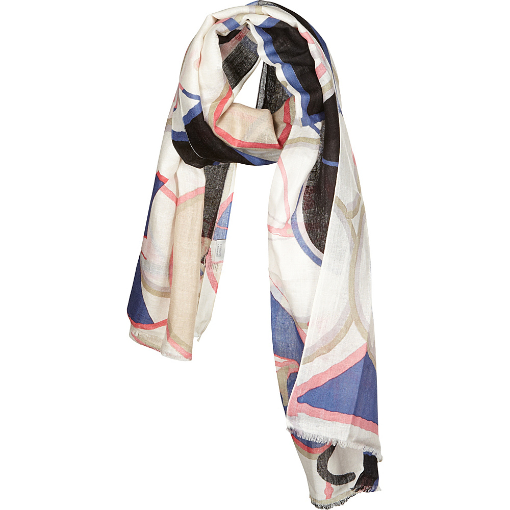Kinross Cashmere Bicycle Print Scarf Straw Multi Kinross Cashmere Hats Gloves Scarves