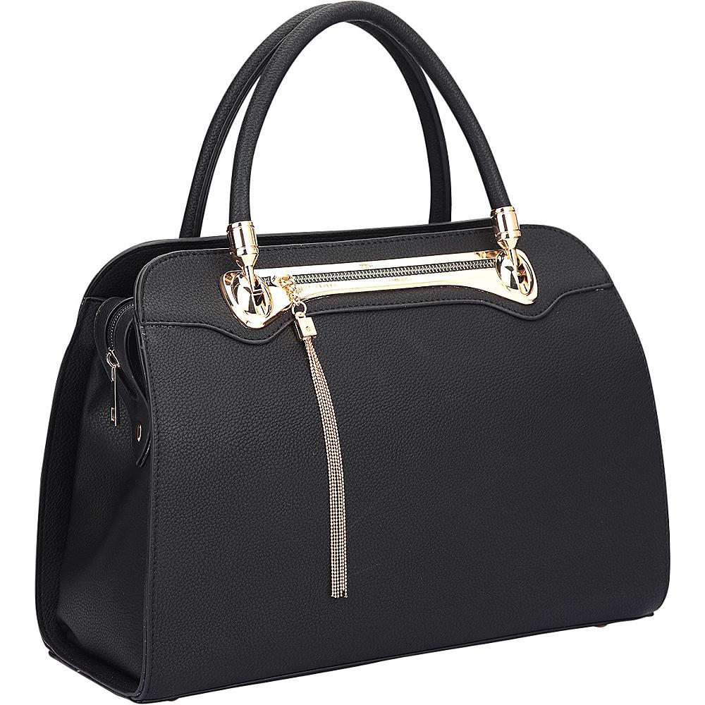 Dasein Fashion Gold Tone Satchel Black - Dasein Manmade Handbags - Handbags, Manmade Handbags