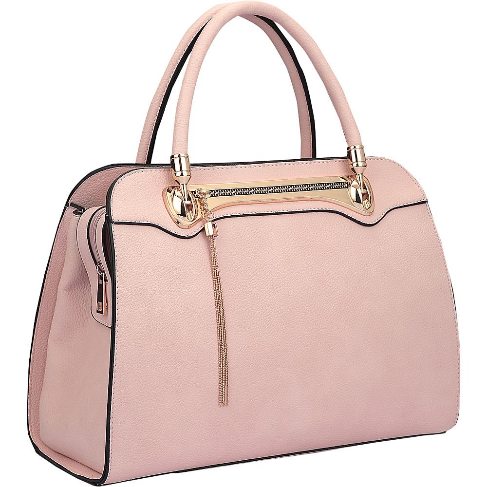 Dasein Fashion Gold Tone Satchel Light Pink - Dasein Manmade Handbags - Handbags, Manmade Handbags