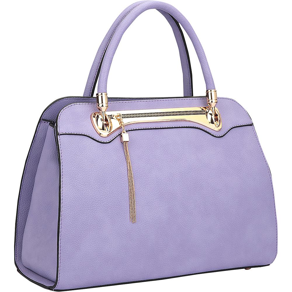 Dasein Fashion Gold Tone Satchel Purple - Dasein Manmade Handbags - Handbags, Manmade Handbags