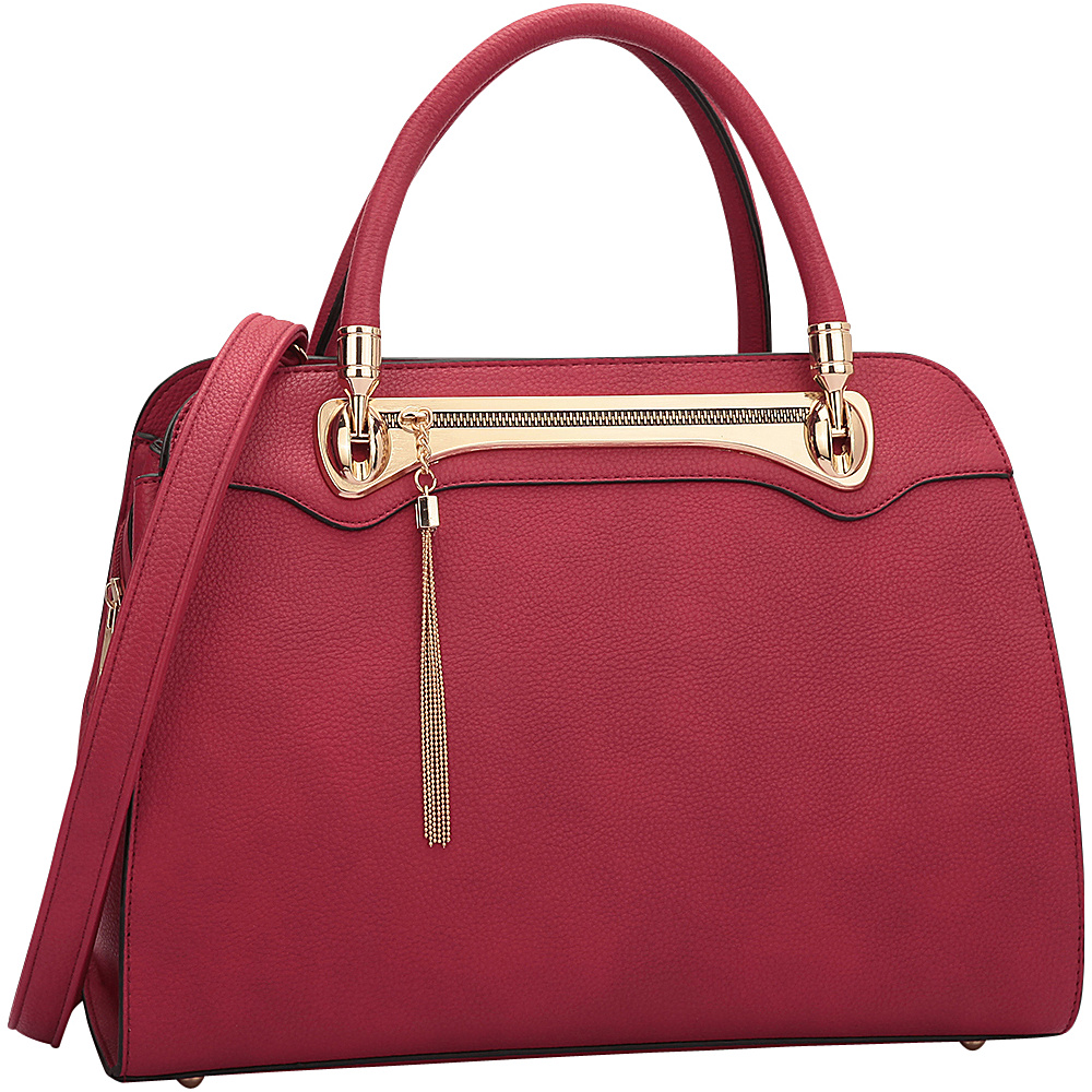Dasein Fashion Gold Tone Satchel Red - Dasein Gym Bags - Sports, Gym Bags