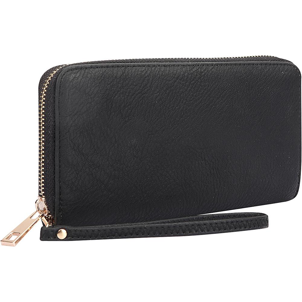 Dasein Zip Around Emblem Wallet Black - Dasein Manmade Handbags - Handbags, Manmade Handbags