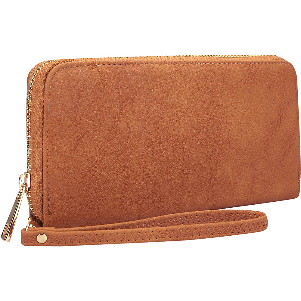 Dasein Zip Around Emblem Wallet Brown - Dasein Manmade Handbags - Handbags, Manmade Handbags