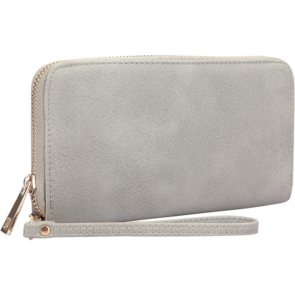 Dasein Zip Around Emblem Wallet Grey - Dasein Manmade Handbags - Handbags, Manmade Handbags