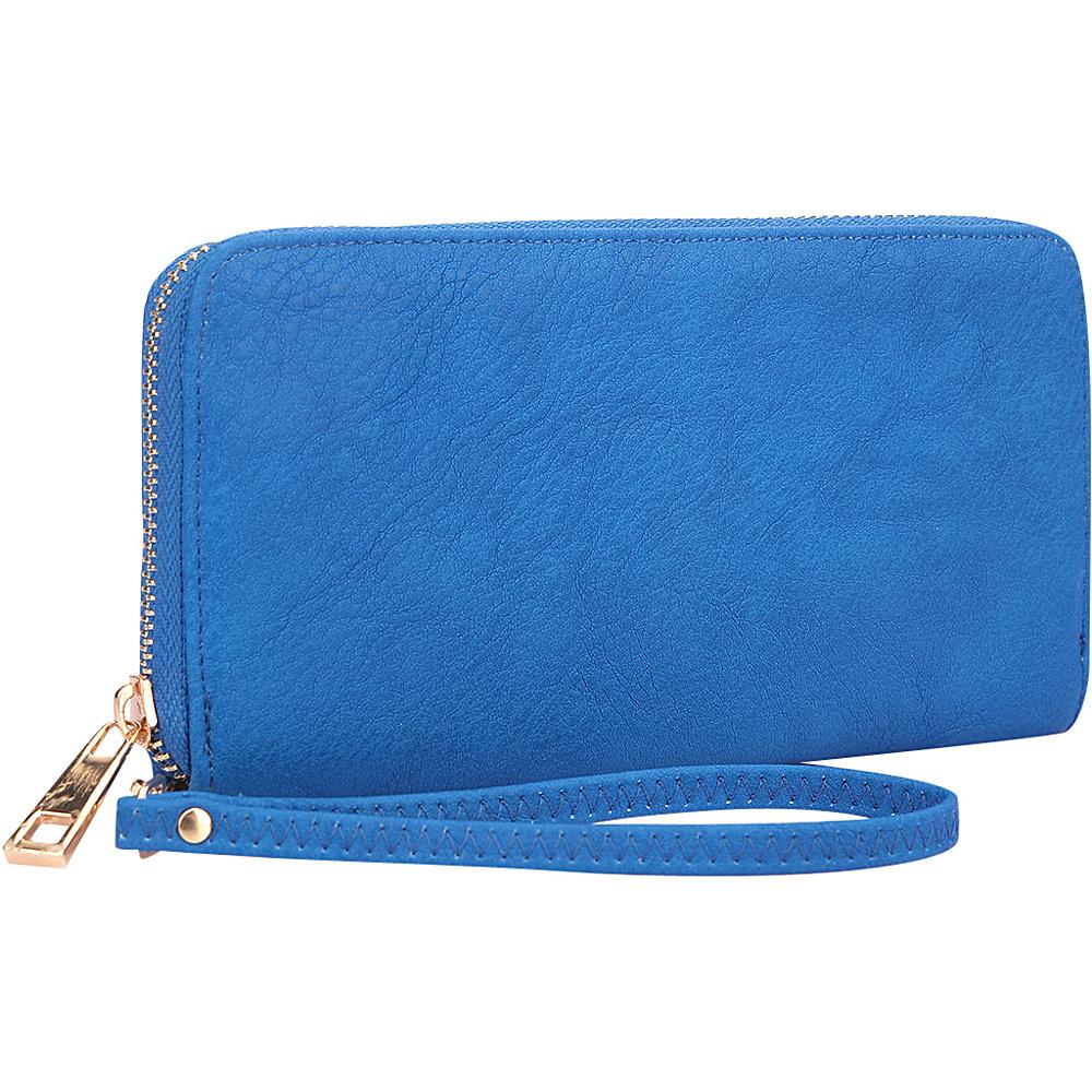 Dasein Zip Around Emblem Wallet Royal Blue - Dasein Manmade Handbags - Handbags, Manmade Handbags