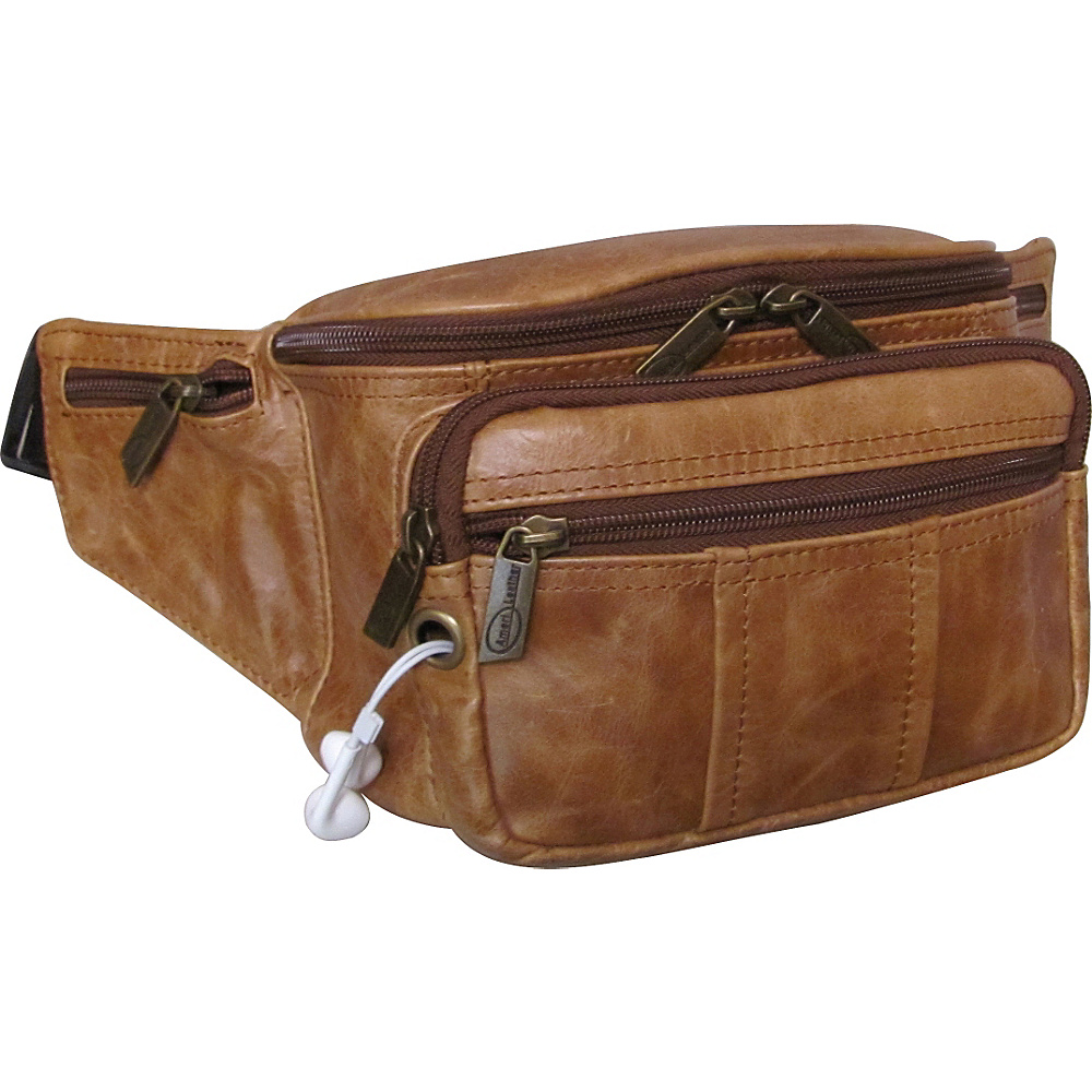 AmeriLeather Easy Traveller Fanny Pack Saddle Brown - AmeriLeather Travel Wallets - Travel Accessories, Travel Wallets