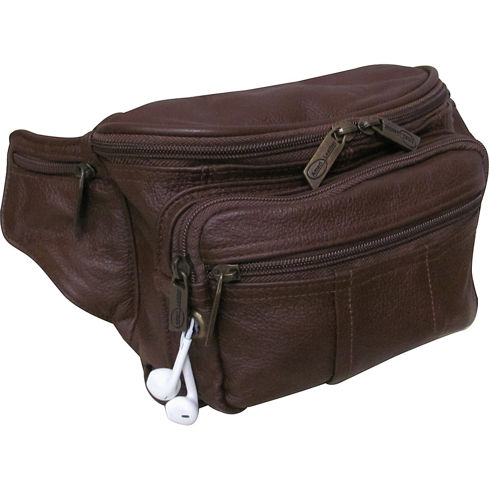 AmeriLeather Easy Traveller Fanny Pack Brown - AmeriLeather Travel Wallets - Travel Accessories, Travel Wallets