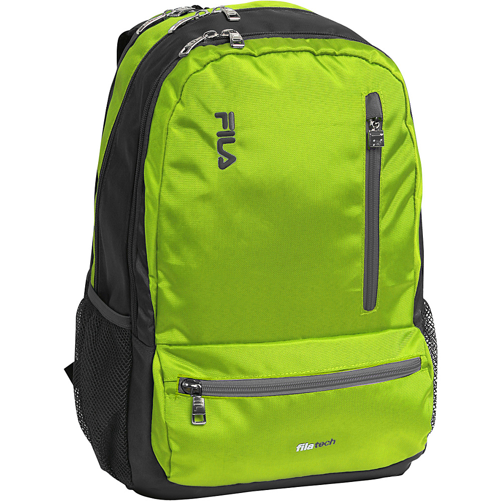 Fila Nexus Tablet and Laptop School Backpack 5 Pockets Lime Green Fila Everyday Backpacks