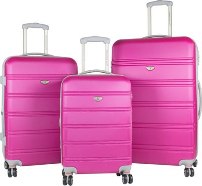 American Green Travel American Green Travel 3-Piece Hardside Spinner Luggage Set with TSA Lock Pink - American Green Travel Luggage Sets