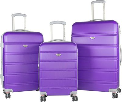 American Green Travel 3-Piece Hardside Spinner Luggage Set with TSA Lock Purple - American Green Travel Luggage Sets