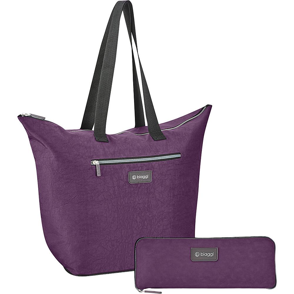 "biaggi Zipsak Microfold 16"" Shopper Tote Purple - biaggi All-Purpose Totes"