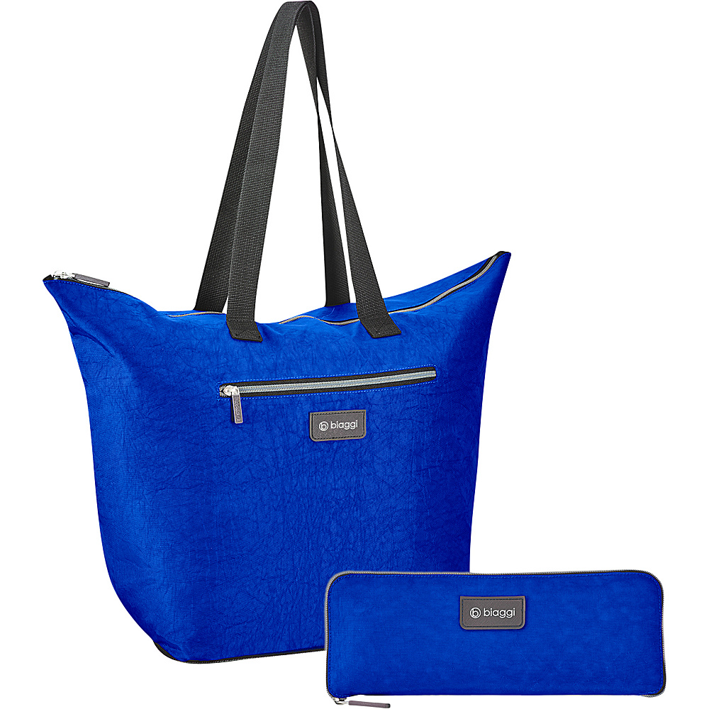 "biaggi Zipsak Microfold 16"" Shopper Tote Cobalt Blue - biaggi All-Purpose Totes"