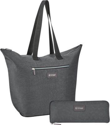 biaggi Zipsak Microfold 16 inch Shopper Tote Grey - biaggi All-Purpose Totes