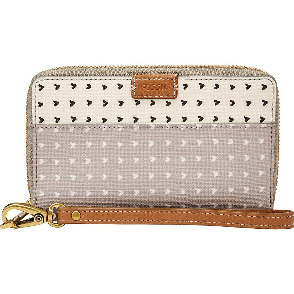 Fossil Emma RFID PVC Smartphone Wristlet Grey/White - Fossil Designer Handbags - Handbags, Designer Handbags