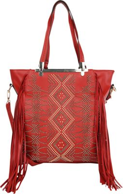 MKF Collection by Mia K. Farrow MKF Collection by Mia K. Farrow Mirabelle Fringed Handbag Red - MKF Collection by Mia K. Farrow Manmade Handbags