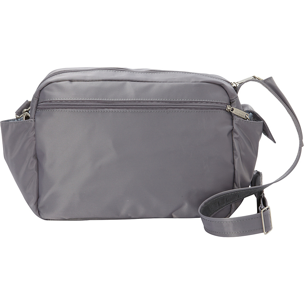 BeSafe by DayMakers RFID Smart Traveler 12 LX Shoulder Bag Pewter BeSafe by DayMakers Fabric Handbags