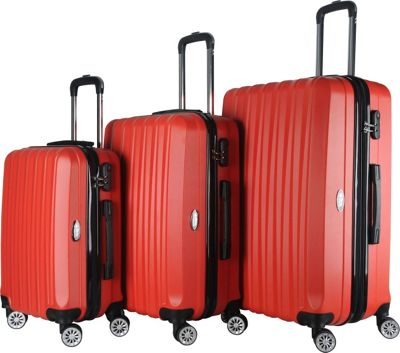 Brio Luggage Brio Luggage Hardside Spinner Luggage Set #1600 Red - Brio Luggage Luggage Sets