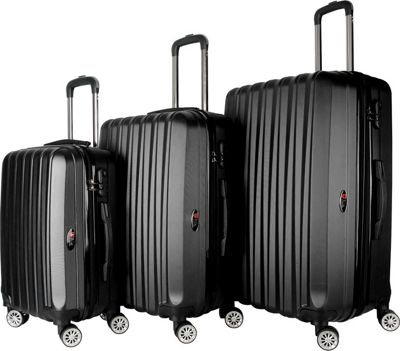 Brio Luggage Brio Luggage Hardside Spinner Luggage Set #1600 Black - Brio Luggage Luggage Sets