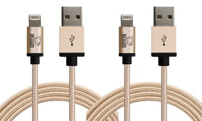 Rhino Paracord Sync/Charge 3 meter MFI Lightning Cable-2 Pack Gold - Rhino Electronic Accessories