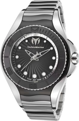TechnoMarine Watches Womens Blue Manta Ceramic  and Stainless Steel Watch Black and silver-tone - TechnoMarine Watches Watches