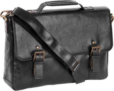 Boconi Becker Flap Dispatch Business Case Black w/ Khaki and Gingham - Boconi Messenger Bags