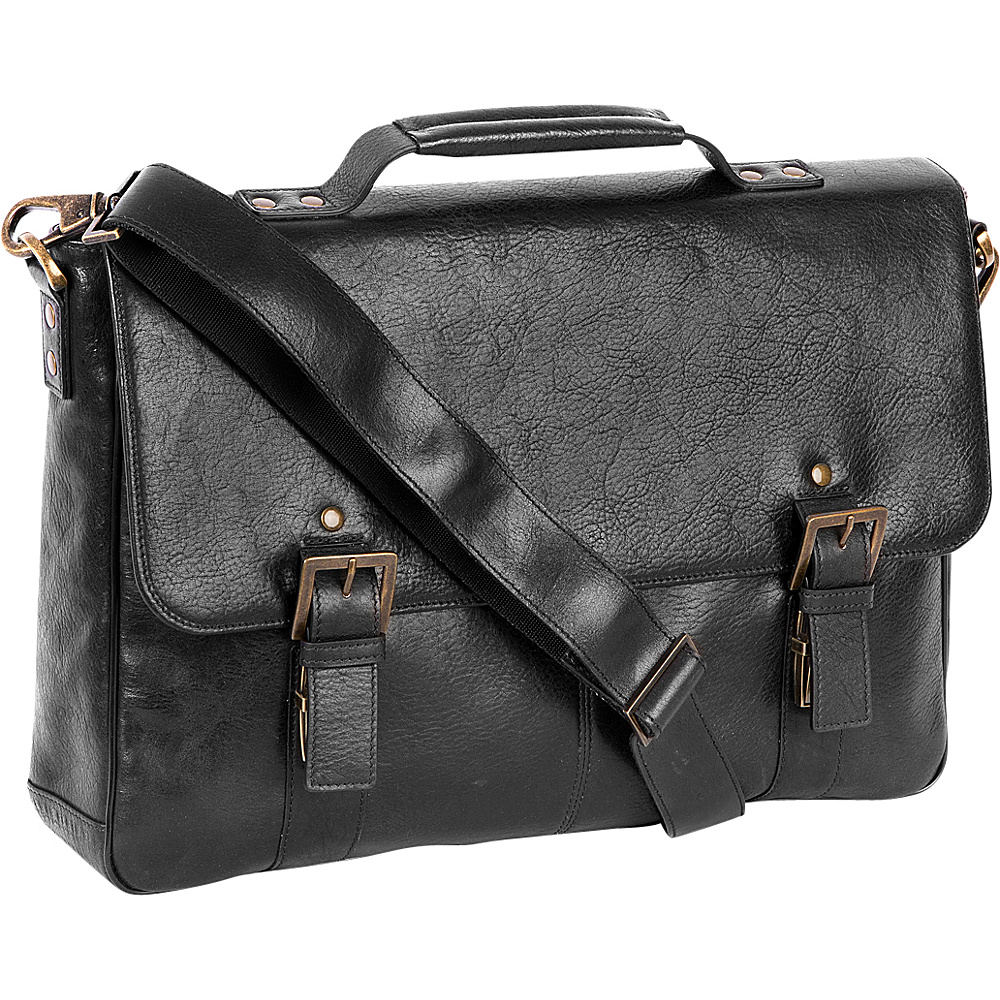 Boconi Becker Flap Dispatch Business Case Black w Khaki and Gingham Boconi Messenger Bags