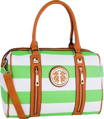 MKF Collection Jen Dual-Zip Overnight Satchel Green - MKF Collection Manmade Handbags