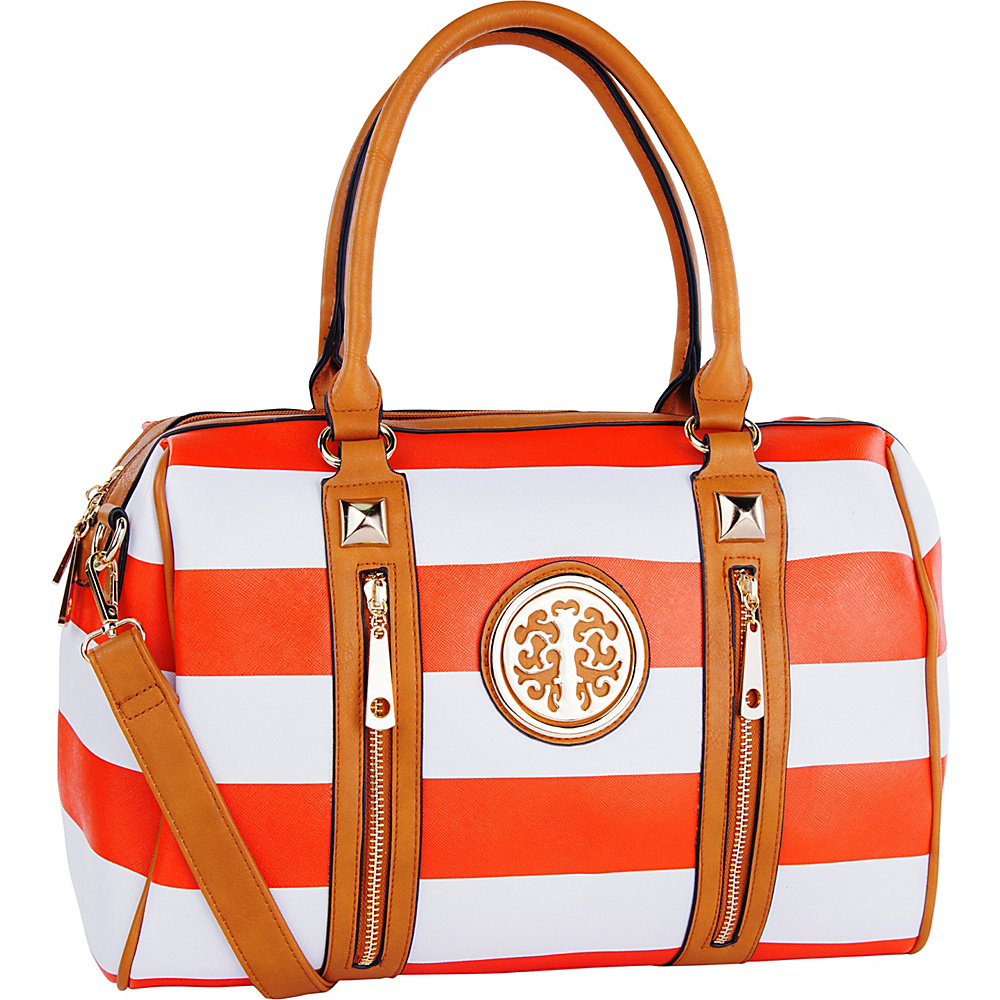 MKF Collection by Mia K. Farrow Jen Dual-Zip Overnight Satchel Orange - MKF Collection by Mia K. Farrow Manmade Handbags - Handbags, Manmade Handbags