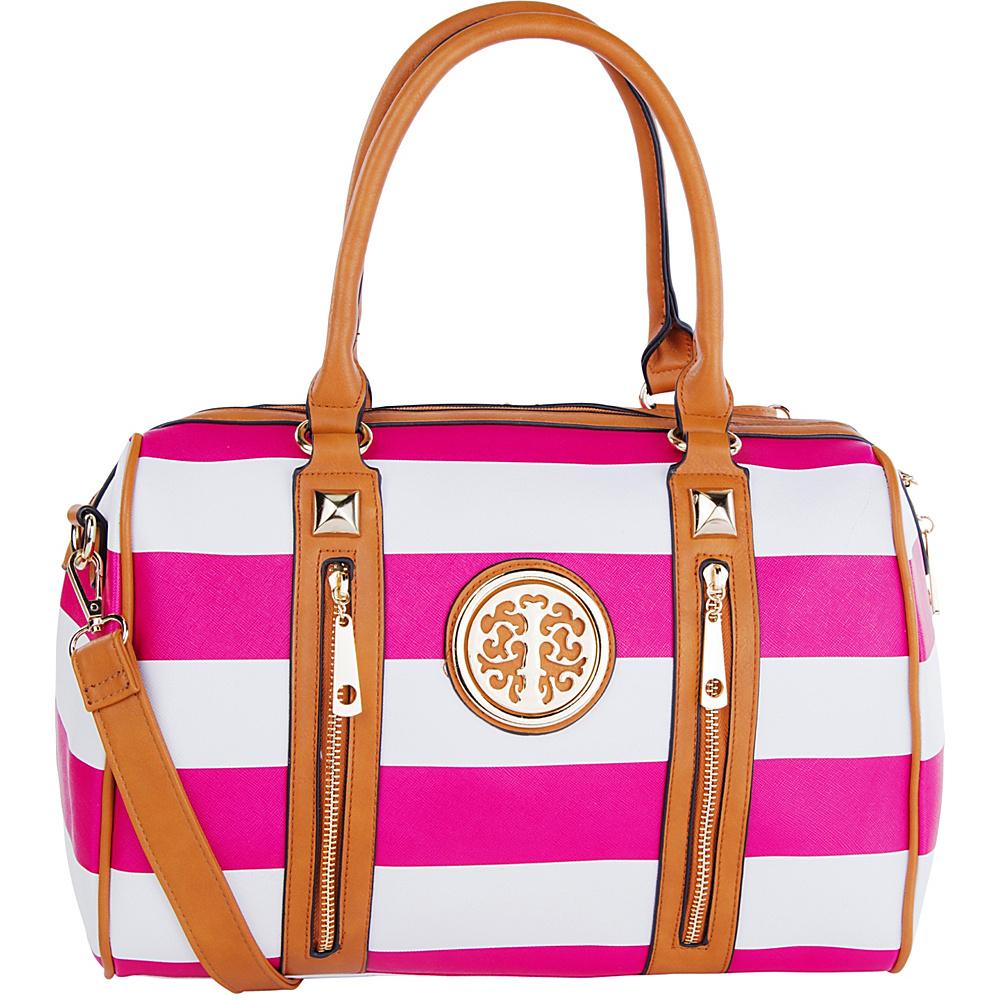 MKF Collection by Mia K. Farrow Jen Dual-Zip Overnight Satchel Fuchsia - MKF Collection by Mia K. Farrow Manmade Handbags - Handbags, Manmade Handbags