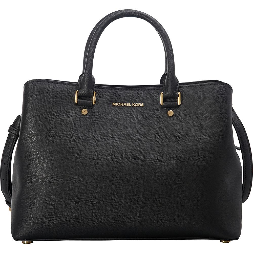 MICHAEL Michael Kors Savannah Large Satchel Black - MICHAEL Michael Kors Designer Handbags