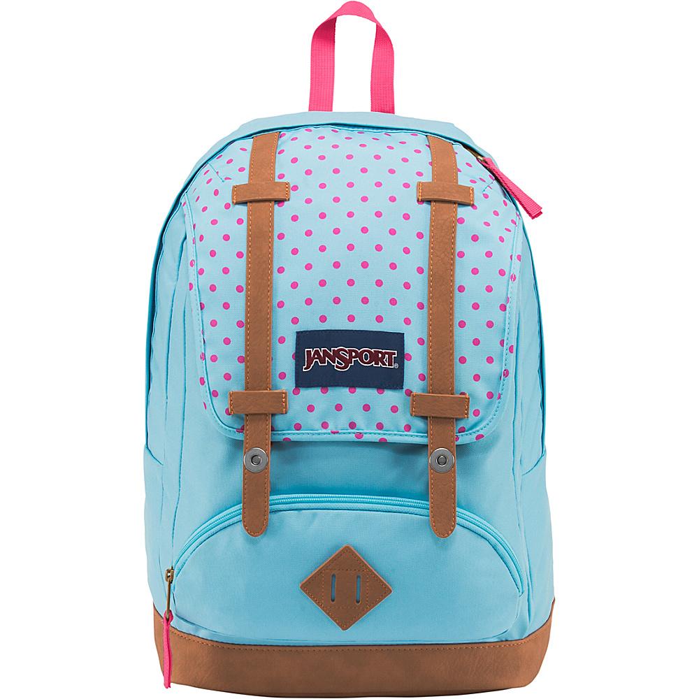 JanSport Cortlandt Backpack- Sale Colors Blue Topaz / Lipstick Kiss Dot-O-Rama - JanSport Everyday Backpacks