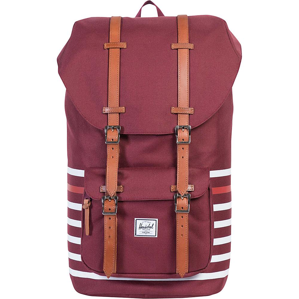 Herschel Supply Co. Little America Laptop Backpack- Discontinued Colors Windsor Wine Offset Stripe/Veggie Tan Leather - Herschel Supply Co. Business & Laptop Ba