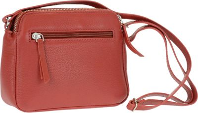 R & R Collections Genuine Leather Double Zipper Crossbody Red - R & R Collections Leather Handbags