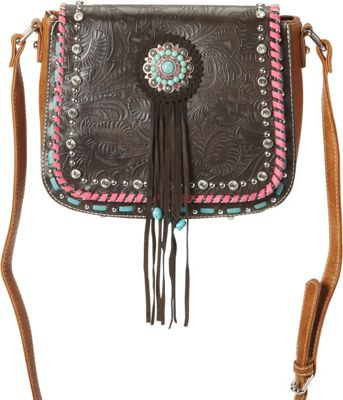 Montana West Concho Crossbody Bag Coffee - Montana West Manmade Handbags