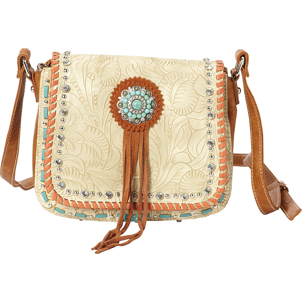 Montana West Concho Crossbody Bag Beige Montana West Manmade Handbags