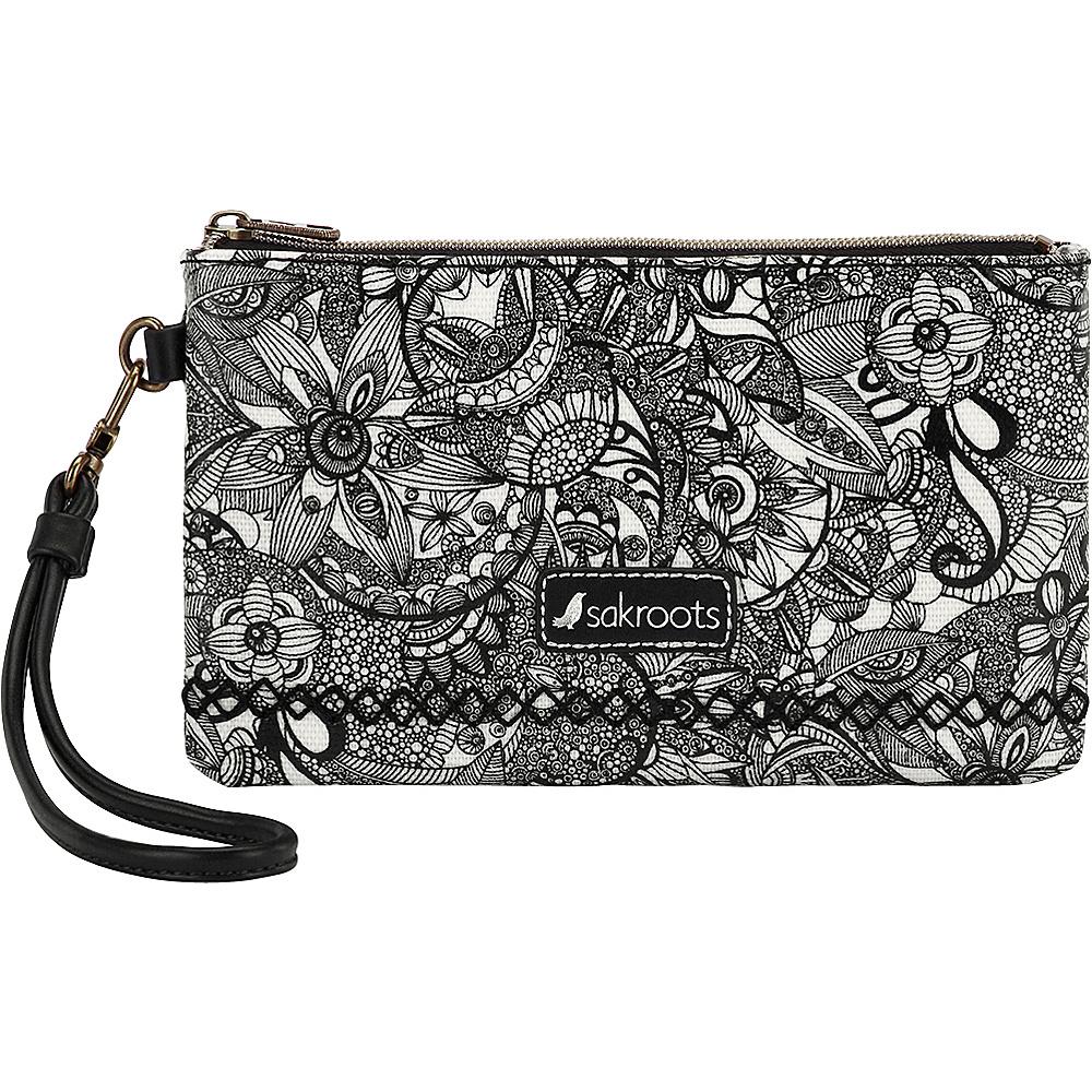 Sakroots Artist Circle Phone Charging Wristlet Black & White Spirit Desert - Sakroots Fabric Handbags - Handbags, Fabric Handbags