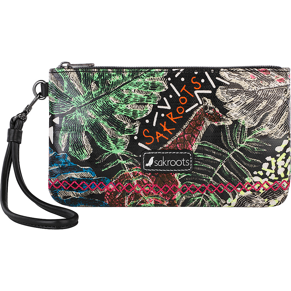 Sakroots Artist Circle Phone Charging Wristlet Black Wild Life - Sakroots Fabric Handbags - Handbags, Fabric Handbags