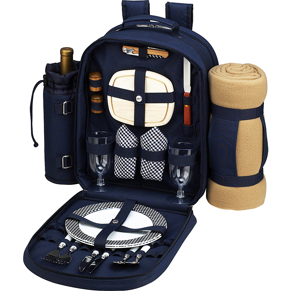 Picnic at Ascot Deluxe Equipped 2 Person Picnic Backpack with Cooler, Insulated Wine Holder & Blanket Navy/White with Gingham - Picnic at Ascot Outdoor Coolers - Outdoor, Outdoor Coolers