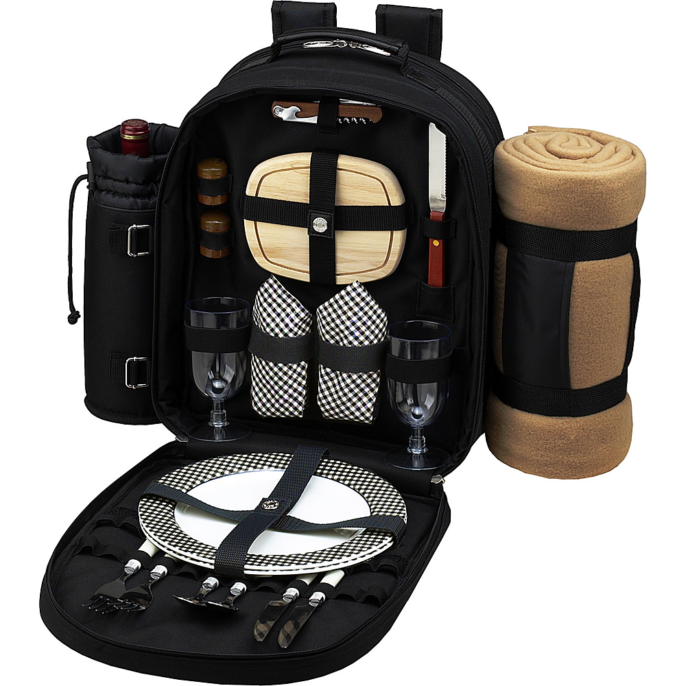 Picnic at Ascot Deluxe Equipped 2 Person Picnic Backpack with Cooler, Insulated Wine Holder & Blanket Black w/Gingham - Picnic at Ascot Outdoor Coolers - Outdoor, Outdoor Coolers