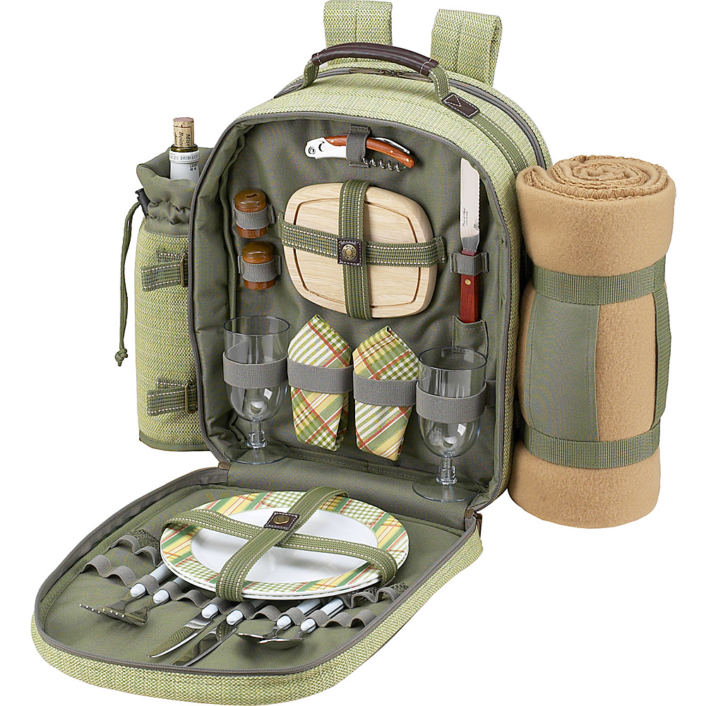 Picnic at Ascot Deluxe Equipped 2 Person Picnic Backpack with Cooler, Insulated Wine Holder & Blanket Olive Tweed - Picnic at Ascot Outdoor Coolers - Outdoor, Outdoor Coolers