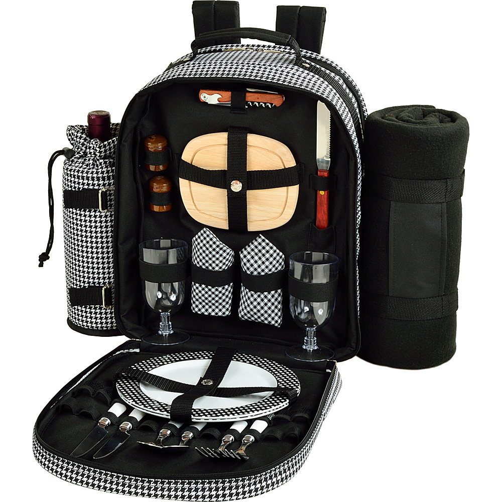Picnic at Ascot Deluxe Equipped 2 Person Picnic Backpack with Cooler, Insulated Wine Holder & Blanket Houndstooth - Picnic at Ascot Outdoor Coolers - Outdoor, Outdoor Coolers
